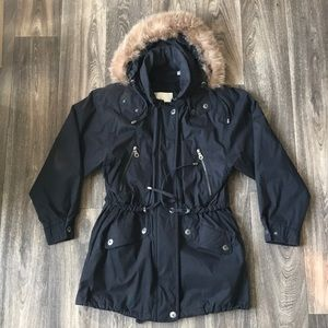 London Fog Fur Hood Lined Parka Jacket Coat XS